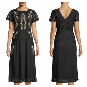 Nanette Lenore dress embroidered black 6 NWT